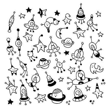 kosmos: aliens, Planeten, Sterne, Raum Kosmos Zeichen gesetzt Illustration