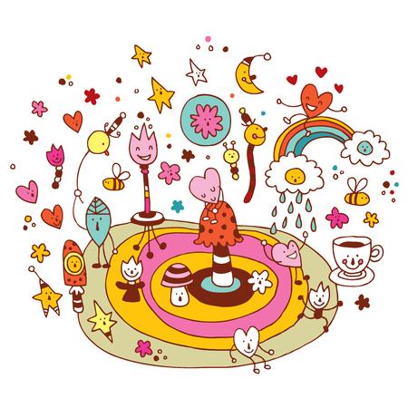 armonia: feliz grupo de personajes de dibujos animados carácter divertido armonía entorno de la ilustración