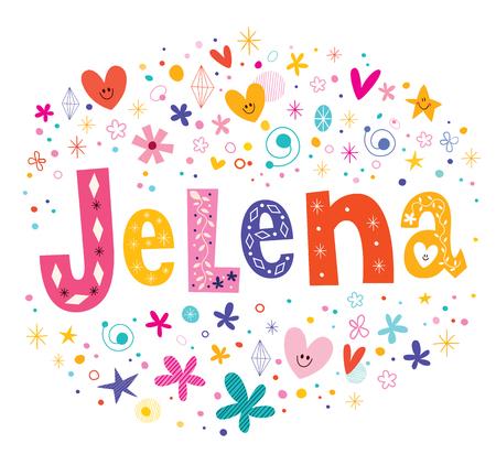 republic of colombia: Jelena girls name decorative lettering type design
