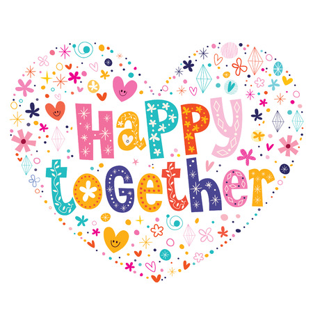 happy together heart shaped type lettering vector design Ilustração