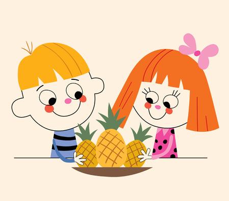 comiendo frutas: niño y niña con piñas Vectores