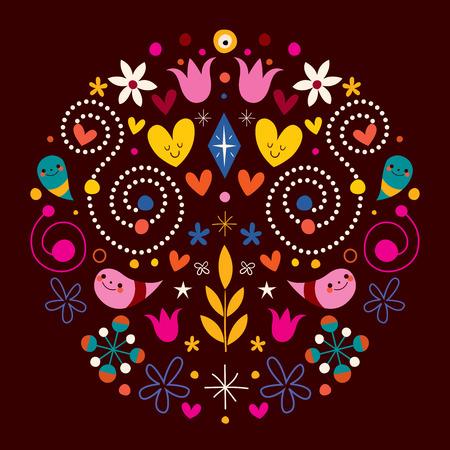 harmony nature: nature love harmony round abstract art vector illustration