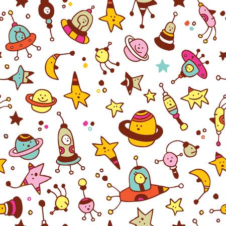 star pattern: aliens, planets, stars, space cosmos seamless pattern