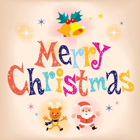 x mas: Merry Christmas retro greeting card