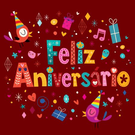 feliz: Feliz Aniversario Portuguese Happy Birthday greeting card Illustration