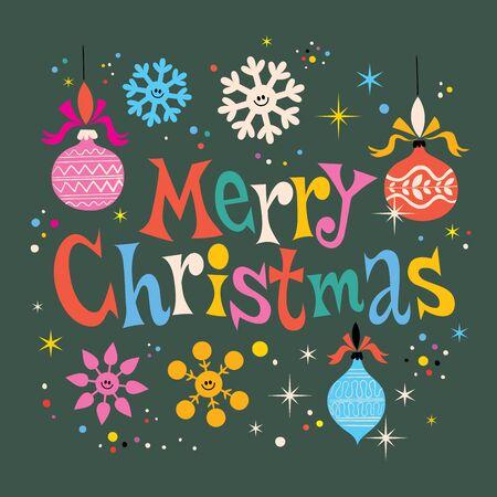 retro christmas: Merry Christmas retro greeting card