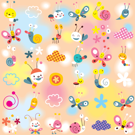 motif escargots, papillons, insectes, fleurs enfants