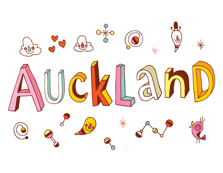 new zealand word: Auckland Illustration