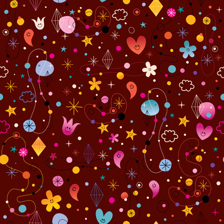 vibrating: seamless pattern with cute characters simply beautiful, celebratory, happy, positive, party, vibrating Illustration