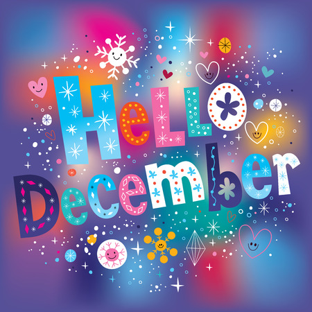 december: Hello December decorative type text lettering