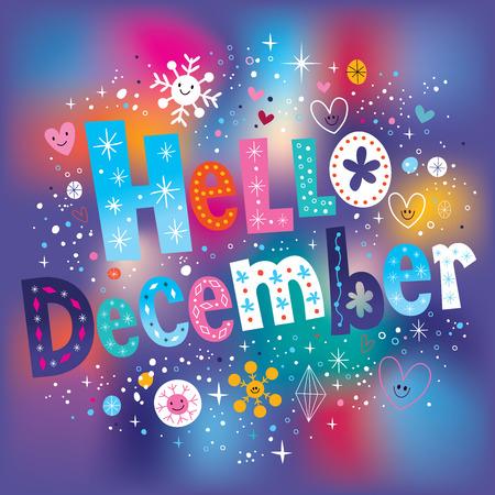 Hola diciembre de tipo texto decorativo letras