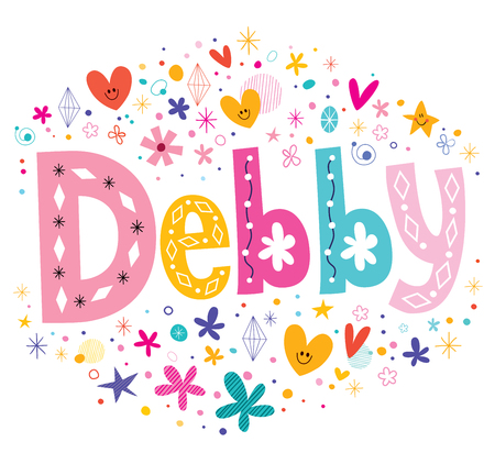 decorative design: Debby girls name decorative lettering type design Illustration