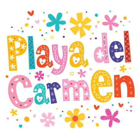 caribbean beach: Playa del Carmen vector lettering decorative type Illustration