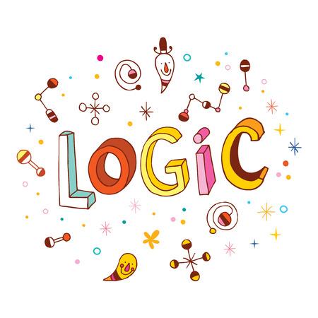logica: Lógica palabra - diseño de letras de la mano Vectores