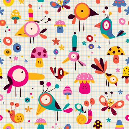 niedliche Vögel, Pilze, Schnecken, Schmetterlinge Zeichen Cartoon Natur nahtlose Muster