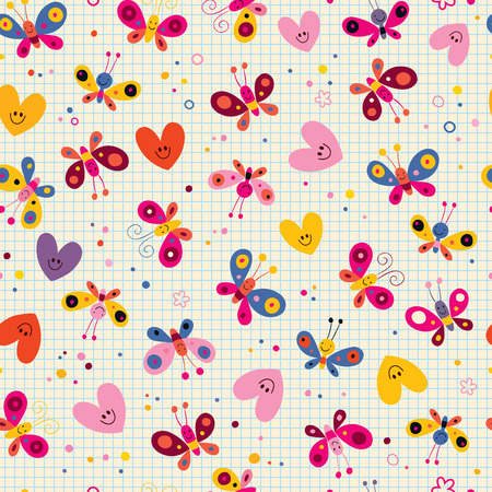butterfly stationary: butterflies and hearts seamless pattern