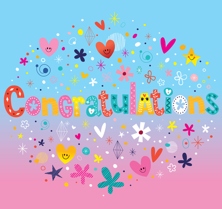 to acclaim: Congratulations typography lettering decorative text card design Illustration