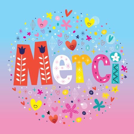 merci: Word Merci Thanks in French typography lettering decorative text card Illustration