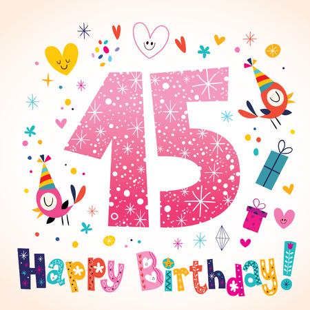 幸せな誕生日 15 年子供グリーティング カード  イラスト・ベクター素材