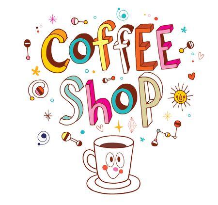 흰색에 커피 숍 멋진 단어