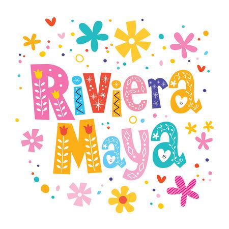 リビエラ マヤ、メキシコ ベクトル文字装飾の種類  イラスト・ベクター素材