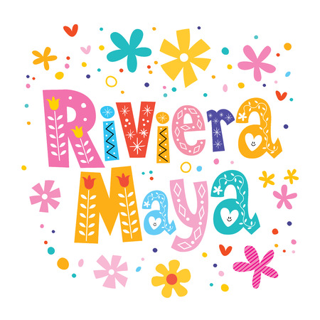 Riviera Maya, Mexico vector lettering decorative type