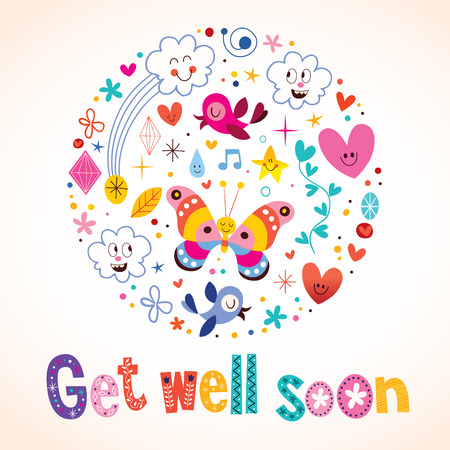 wellness background: Get well soon greeting card