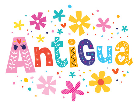 antigua: Antigua vector lettering decorative type Illustration