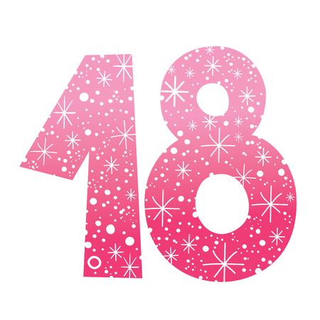 number eighteen Stock Illustratie