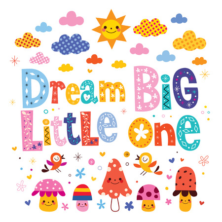 nursery room: Dream big little one - kids nursery art with cute characters