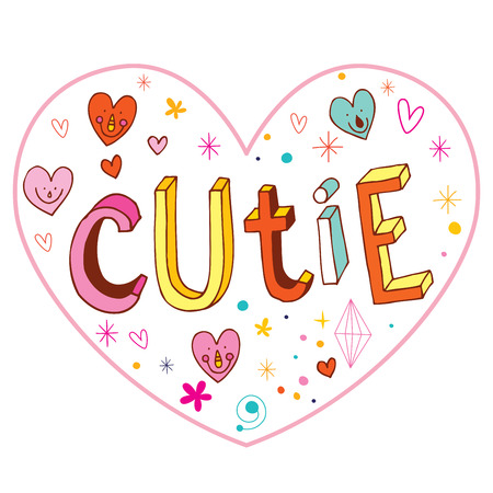 cutie: cutie heart shaped love design with hand lettering