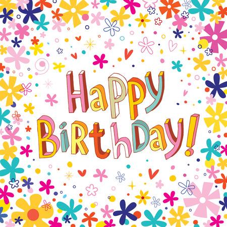flores de cumpleaños: Tarjeta de felicitación del feliz cumpleaños