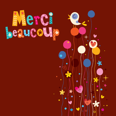 merci: Merci beaucoup thank you very much in French greeting card