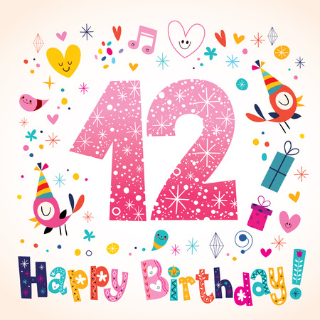 Happy Birthday 12 years kids greeting card