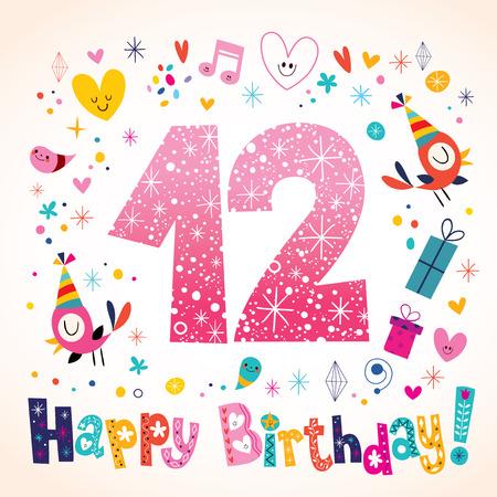 Happy Birthday 12 years kids greeting card