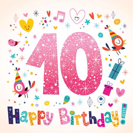 numero diez: Feliz cumpleaños 10 años de cabritos tarjeta de felicitación Vectores