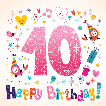 number of animals: Happy Birthday 10 years kids greeting card
