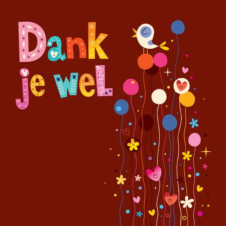 dank: Dank je wel - thank you in Dutch greeting card Illustration