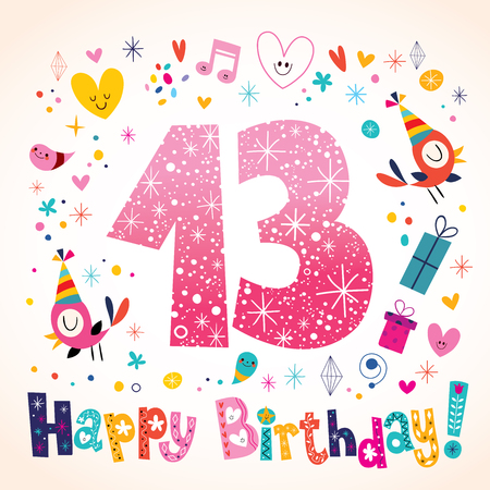 13: Happy Birthday 13 years kids greeting card