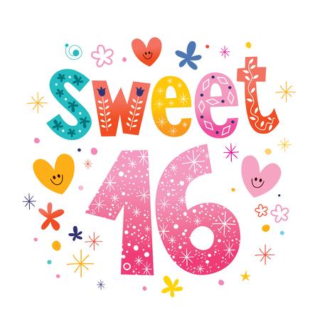 Sweet Sixteen tekst decoratieve unieke typografie belettering Stock Illustratie