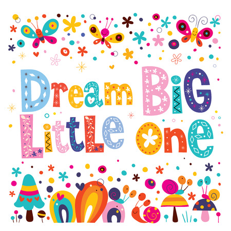 Dream big little one - kids nursery art with cute characters Zdjęcie Seryjne - 54765801