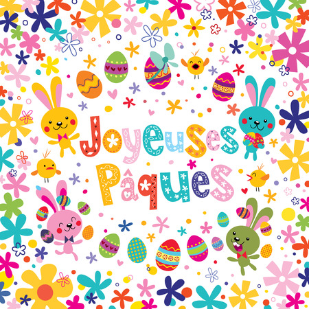 Joyeuses Paques Happy Easter in French greeting card Ilustrace
