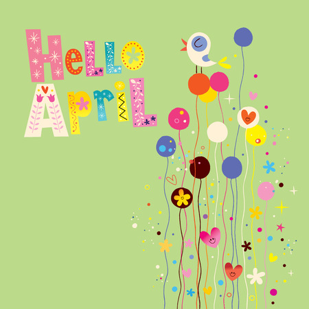 Hello april spring card Ilustracja
