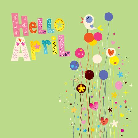 april: Hello april spring card Illustration