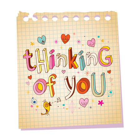 thinking of you: Thinking of you notepad paper love message with unique hand lettering romantic design Illustration