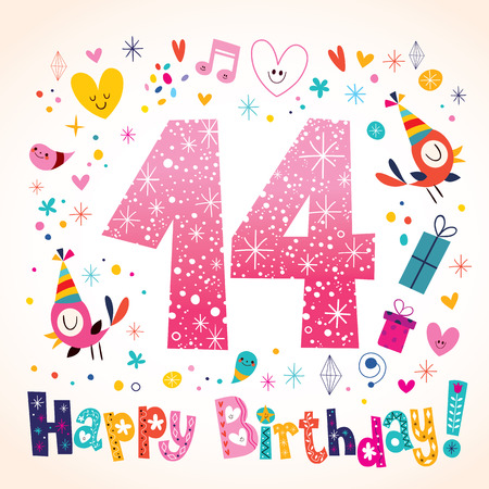 number 14: Happy Birthday 14 years kids greeting card Illustration
