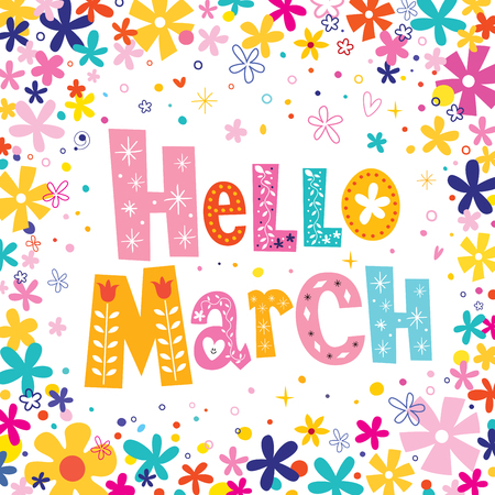 Hello March unique decorative lettering card Banco de Imagens - 54765877