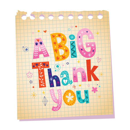thankfulness: a big thank you notepad paper message with unique hand lettering