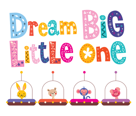 little one: Dream big little one - kids nursery art with baby animals in space ships