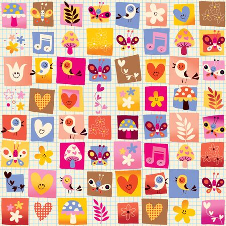 butterfly stationary: cute flowers, birds, hearts nature seamless pattern